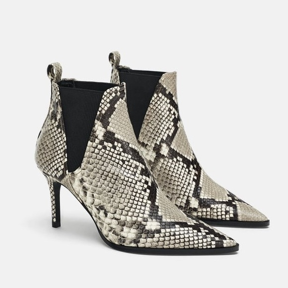afb04fcb34f Zara snake print pointy toe boot bloggers fave. NWT